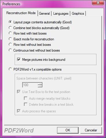 Algumas opções do PDF to Word Converter