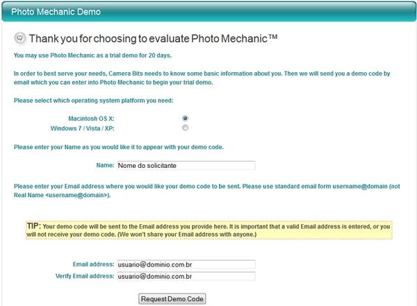 Preencha o formulário para obter o registro