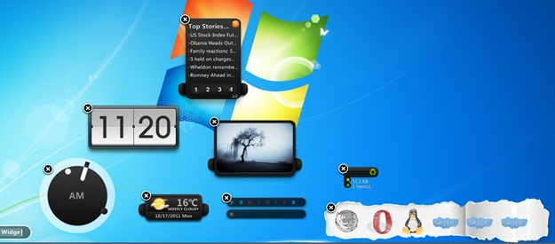 Diversos widgets na Área de trabalho