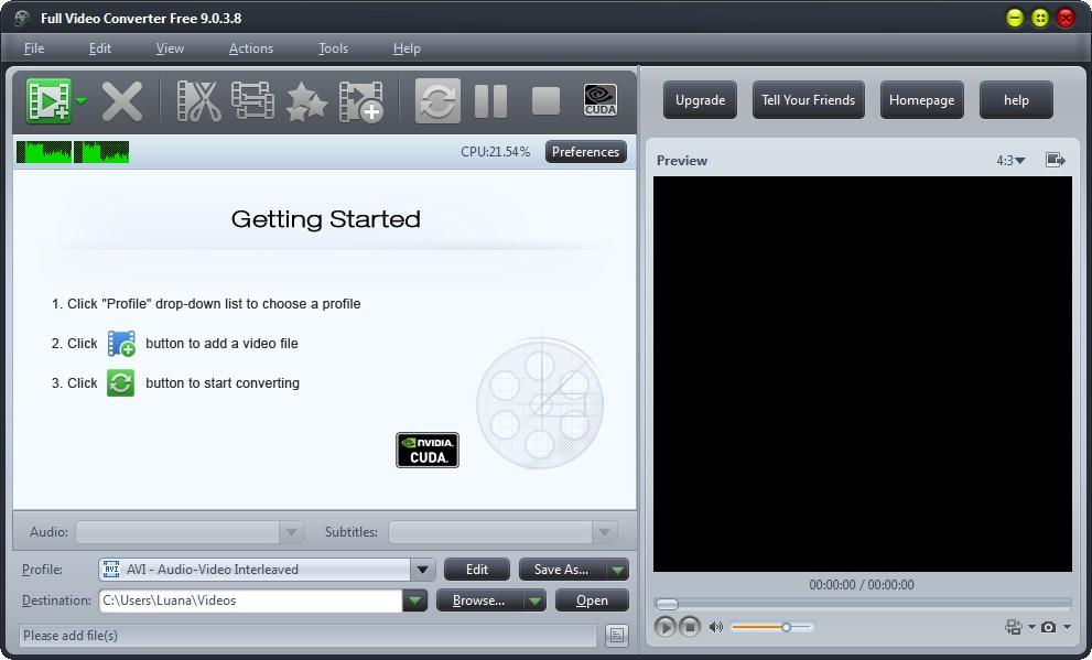 Interface inicial do aplicativo