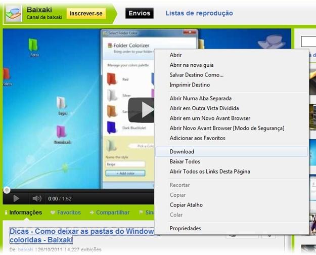 Download de vídeos pelo Avant.