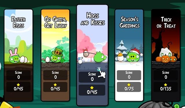 Algumas das estações disponíveis no Angry Birds