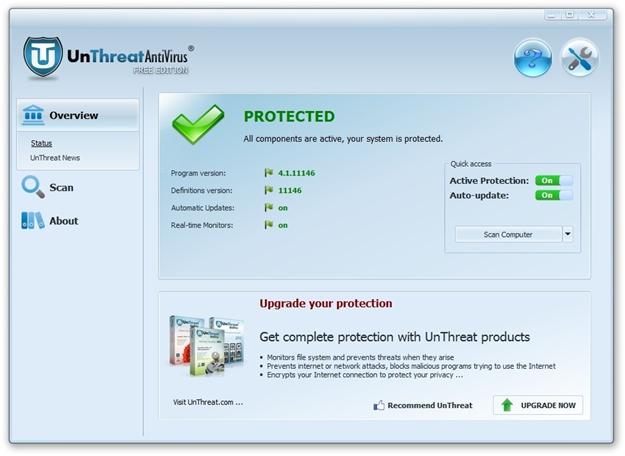 UnThreat Free Antivirus 2012.