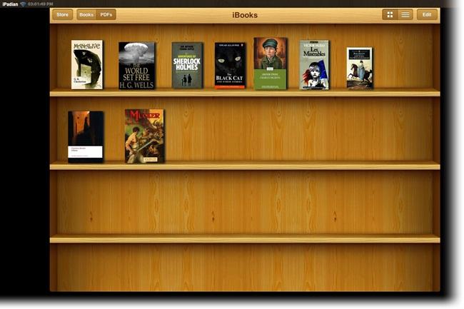 A sua estante de livros virtuais.