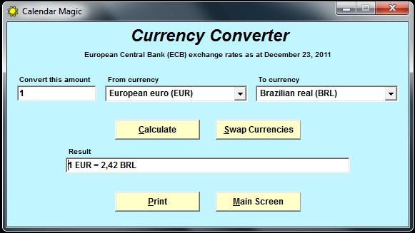 Conversor monetário no mesmo software