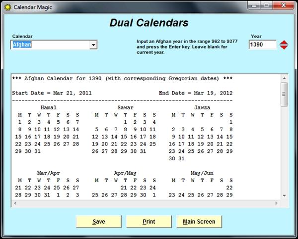 Mais de 20 tipos de calendários disponíveis