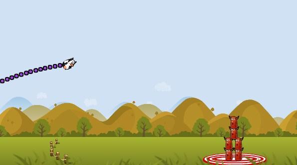 A vaca voando para o alvo!