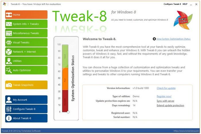 Скачать бесплатно Tweak-8 v.1.0 Build 1000 for Windows 8 (2012) Программы н
