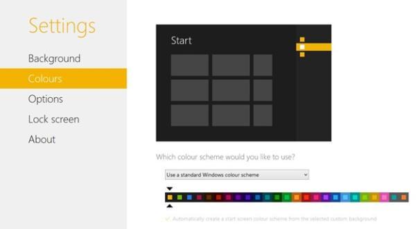 Utilizando um esquema de cores padrão