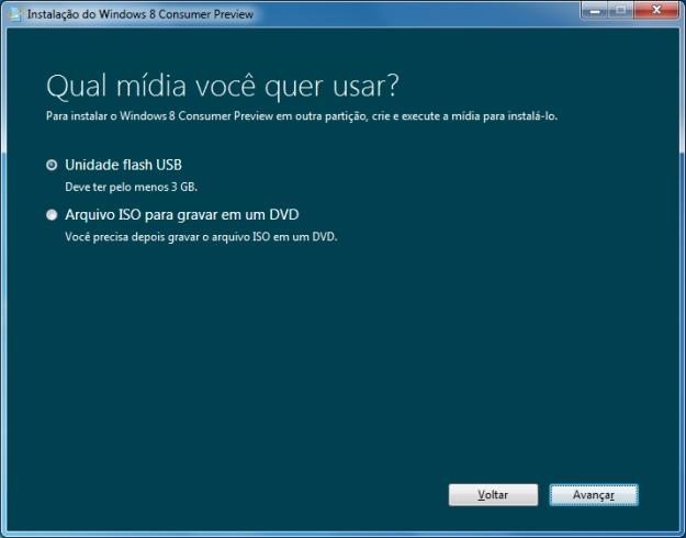 Opções de instalação do Windows 8.