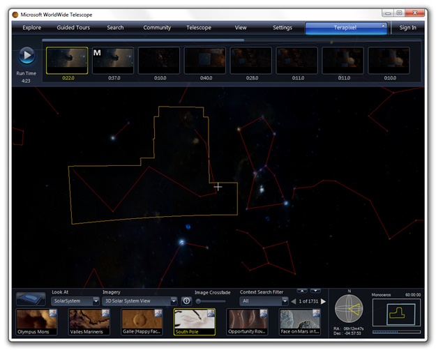 Microsoft WorldWide Telescope Beta - Imagem 3 do software