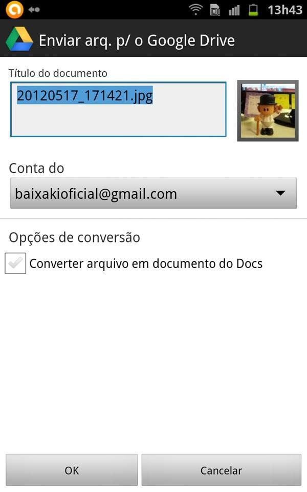 """para o Google Drive"""" será aberta. Nela, você poderá modificar o ..."""