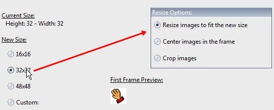 Escolha o tamanho do novo cursor