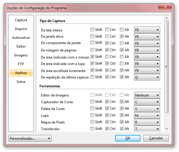 Configure atalhos para as capturas de tela