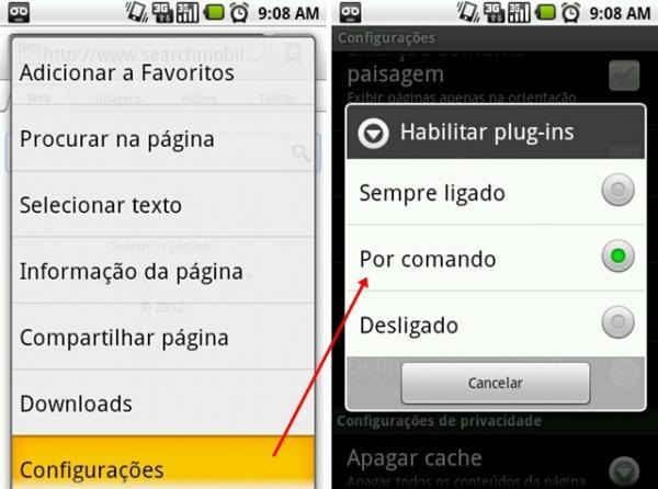 Android: como carregar plugins do navegador por demanda 79809700015101738
