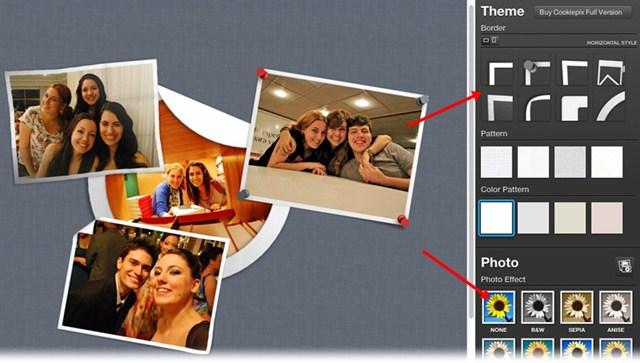 Aplique bordas e filtros para cada fotografia