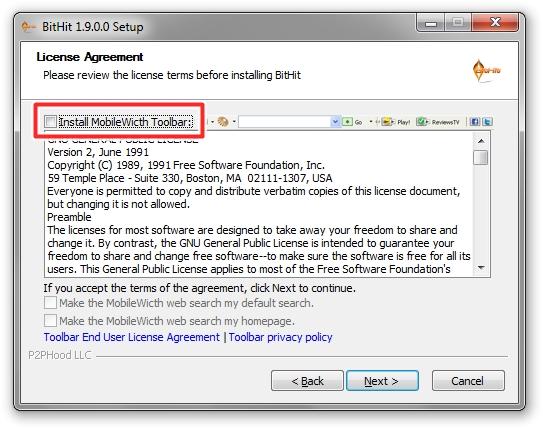 Desmarque a instalação da toolbar