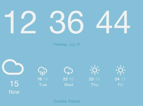 Tenha a previsão do tempo e o relógio em uma nova aba