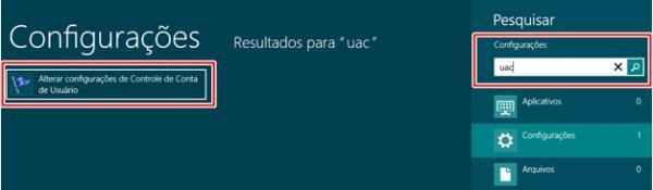 Abrindo as configurações de UAC