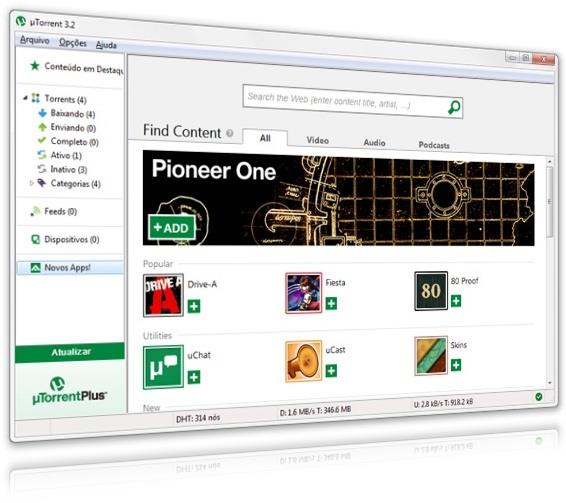 Central de aplicativos do uTorrent