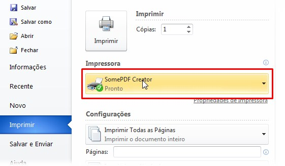 Use o SomePDF Creator como uma impressora
