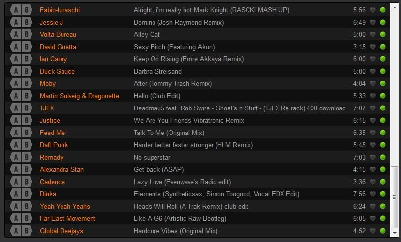 Lista de músicas