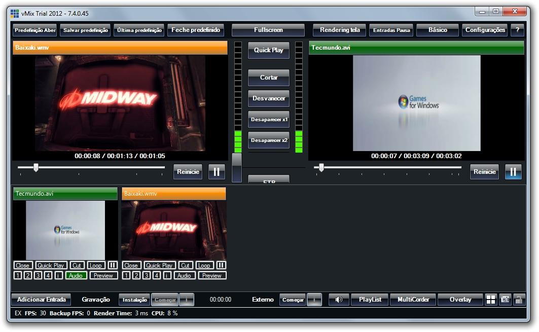 Misturando vídeos