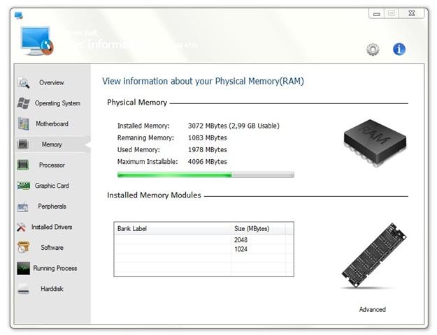 Informações da memória RAM