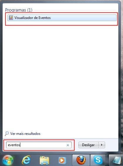 Abrindo o visualizador de eventos do windows