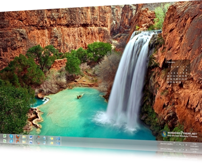 February 2013 Calendar Windows 7 Theme