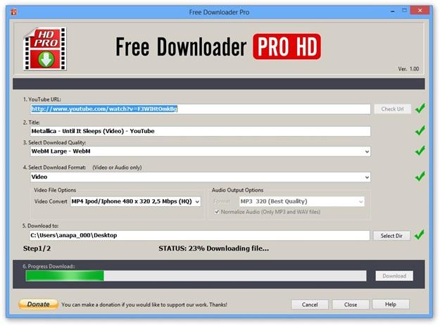 Fazendo o download no formato MP4