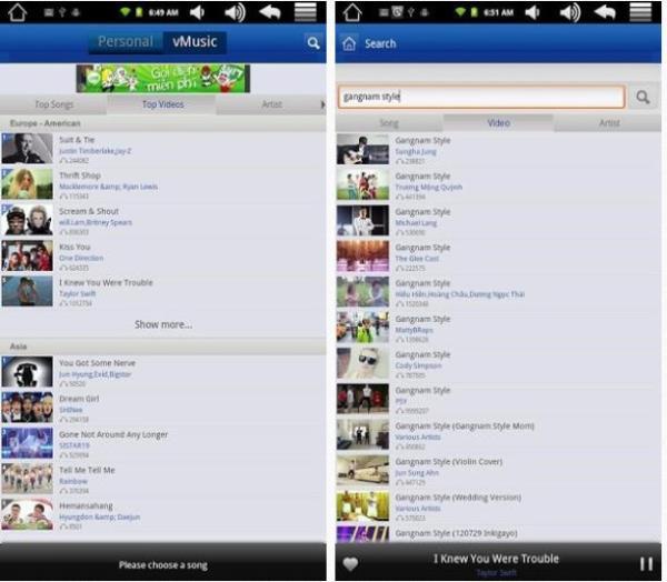 vMusic Pro - várias opções