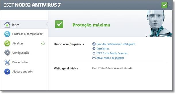 Tela inicial do ESET NOD32