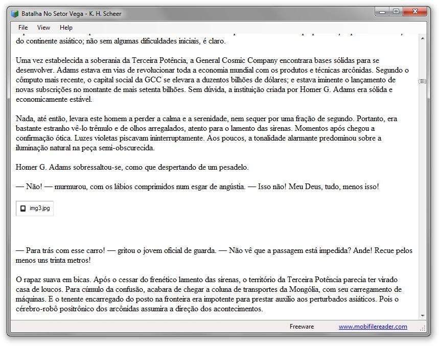 Lendo com o Mobi File Reader