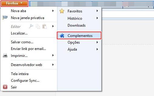 Abrindo o setor de complementos do Firefox