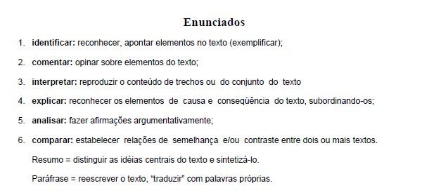 Parte do conteúdo de língua portuguesa