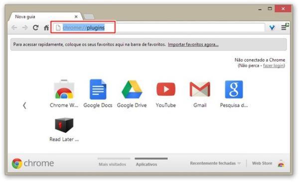 Abrindo plugins no Chrome