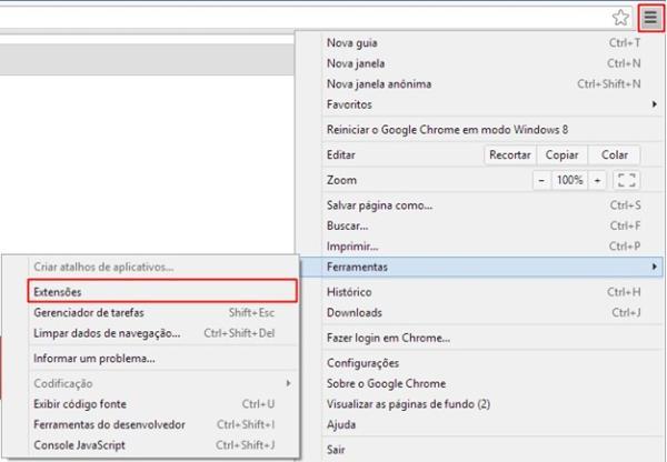 Abrindo as opções do navegador
