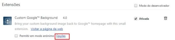 Abrindo a interface de personalização