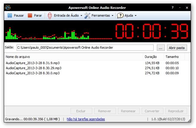 Gravador de Áudio Online Grátis da Apowersoft