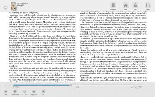 A leitura com o menu de navegação aberto.