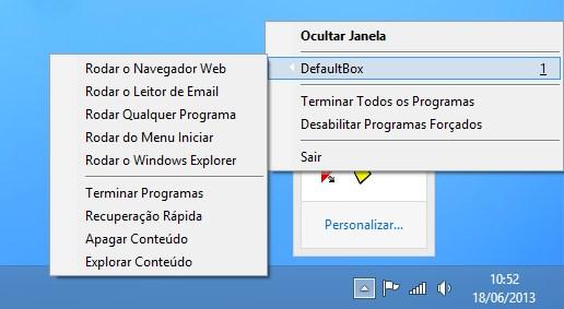 Opções do programa