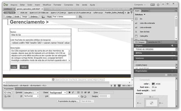 Editor visual