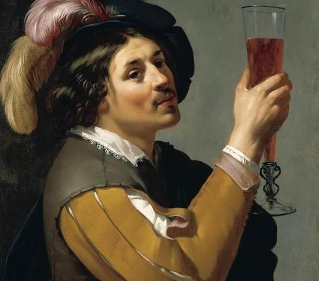 Elizabethan Painting Wine Glass