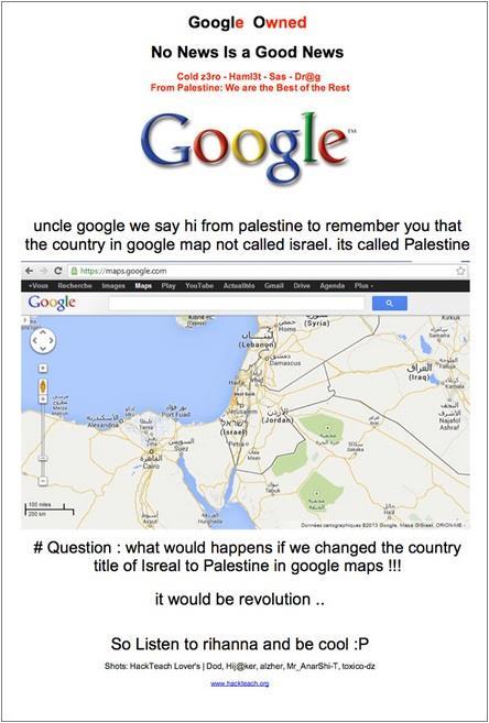 Hackers usam página inicial do Google para protestar a favor da Palestina