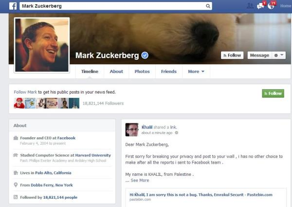 Hacker invade mural de Mark Zuckerberg para avisar sobre bug no Facebook
