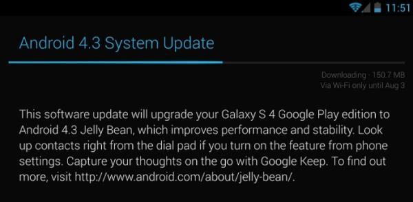 Android 4.3 chega às versões