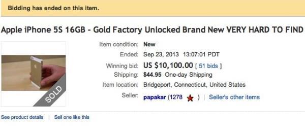 iPhone 5S dourado já vale mais de R$ 20 mil no eBay