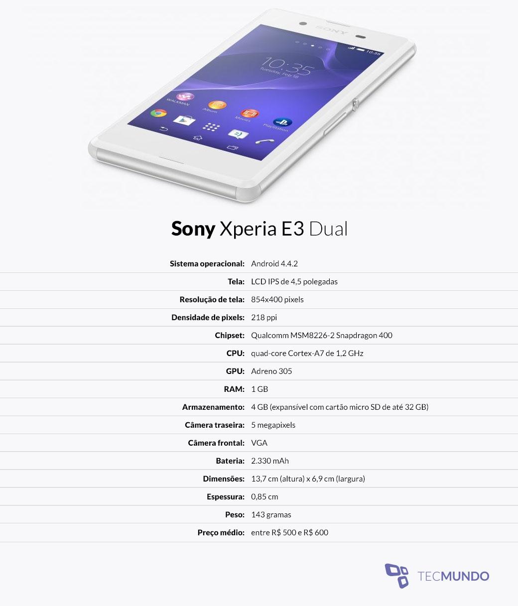 smartphones: Análise: smartphone Sony Xperia E3 Dual