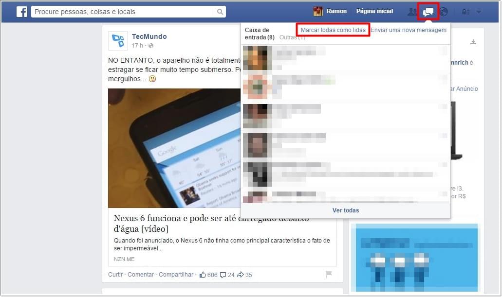 Facebook: marque todas as suas conversas como lidas de uma só vez 03114030281288